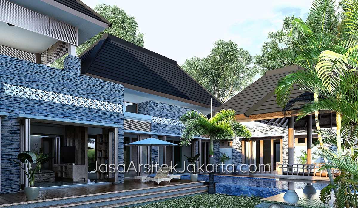 Desain Rumah Gaya Villa Bali Bp Gufron Di Jakarta