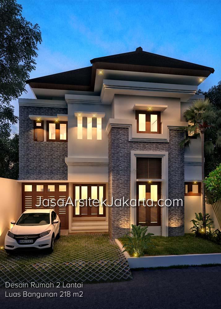 Desain Rumah 2 Lantai Luas Bangunan 218 m2 milik Bp Coki Jakarta